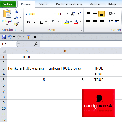 Funkcia TRUE v MS Excel