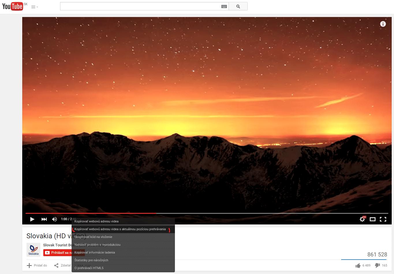 Kopírovanie youtube URL adresy v možnostiach