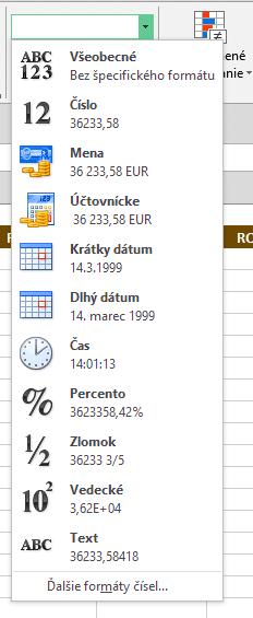 ĎAĽŠIE FORMÁTY ČÍSEL... Excel príručka