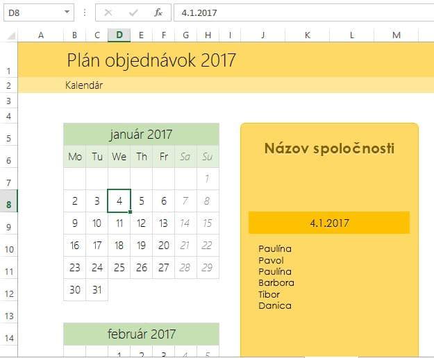 Kalendár objednávok v exceli