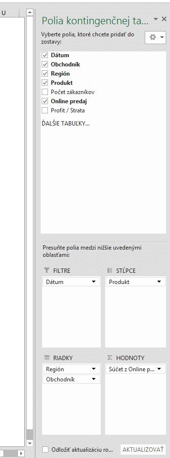 Vytvorenie zostavy kontingenčnej tabuľky