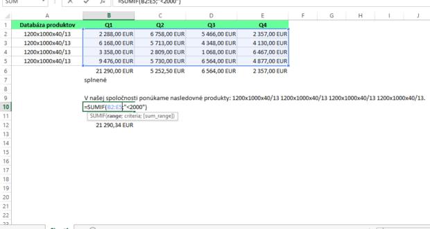 Základné funkcie v Exceli
